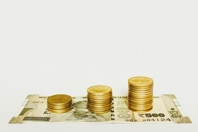 indické rupie, tři sloupečky mincí